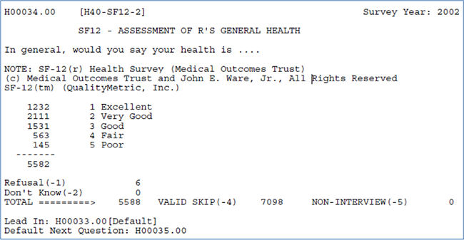Assessment of R's General Health