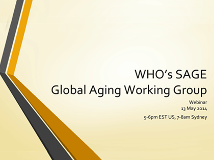 WHO Study on Global AGEing and Adult Health