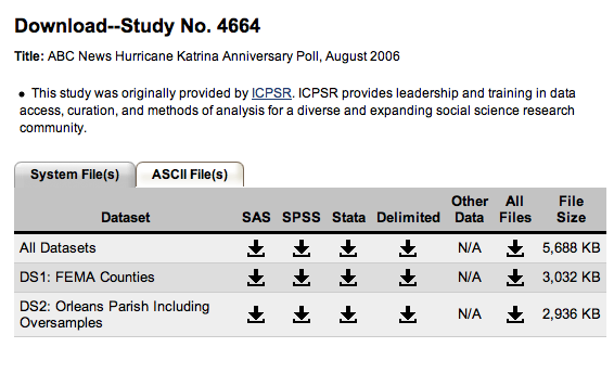 screenshot of study download page